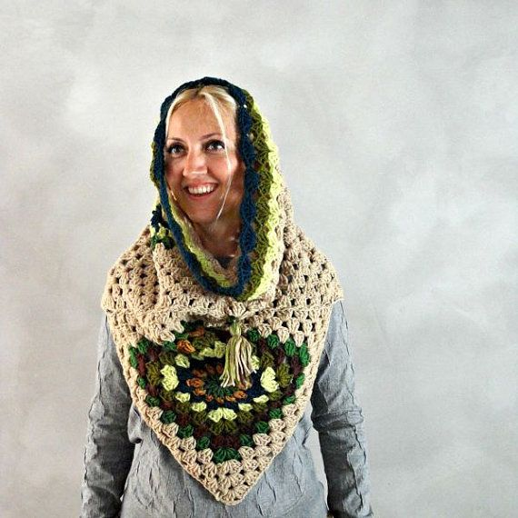 Cowl Scarf, Crochet Hooded Scarf for Women, Womens Gift, Chunky Cowl ...