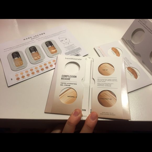 Medium to dark foundation samples Urban Decay Naked Skin Foundation,  Bareminerals Tinted Hydrating Gel Cream, and Marc Jacobs Re(Marc)able  foundation ...