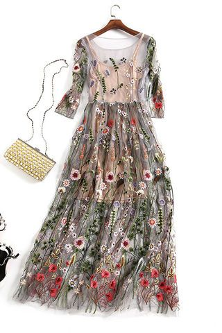 6ec06cc926a  101.99 Grey Floral Embroidered Two Piece Dressproducts id (1000013010 or  1000013197 or 1000012807 or 1000012480)