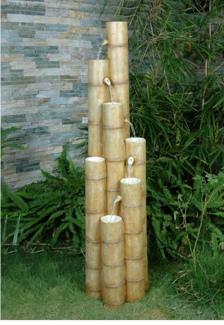 large bamboo fountain water