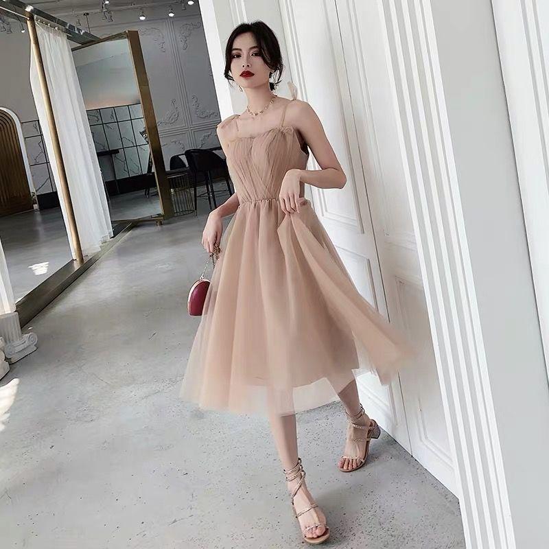 Bean Paste Powder Prom Dress Condole Belt Evening Dress Simple And Easy Sister Group Bridesmaid Dress Temperament Party Dress -   17 prom dress Korean ideas