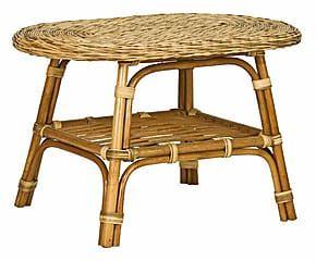 Tavolino in rattan e midollino Playa sabbia - 80x50x50 cm