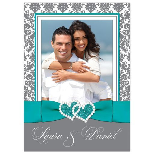 PHOTO Template Wedding Invitation | Aqua, White, Gray Damask | PRINTED Ribbon, Jeweled Joined Hearts