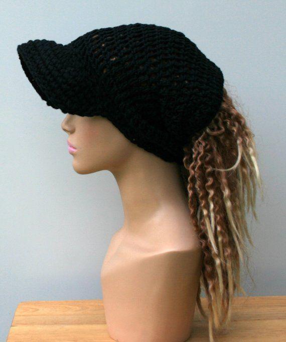 Black cotton ponytail hat 9a3e48eb0b1