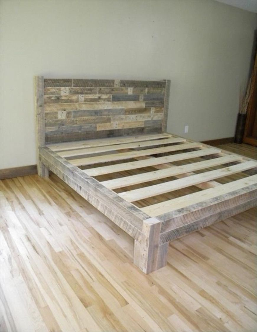 Diy Pallet King Size Bed Plans Wood Bed Frame Diy Diy Pallet