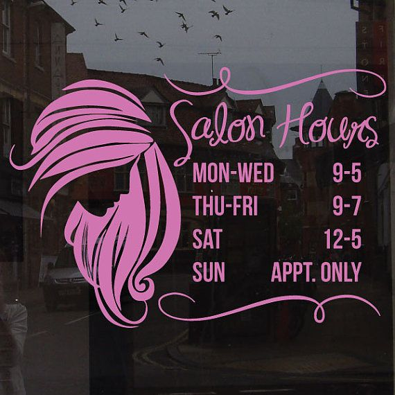 CUSTOM Salon Hours Window Decal  Custom Size And Color  Hair - Window decals for business hours