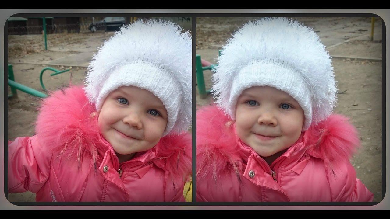 зимняя шапка на девочку 4 - 5 лет. вязание спицами e897cac5dd010
