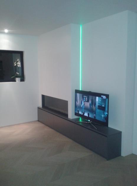 gashaard met tv en verlichting | Zithoek | Pinterest | Fireplace ...