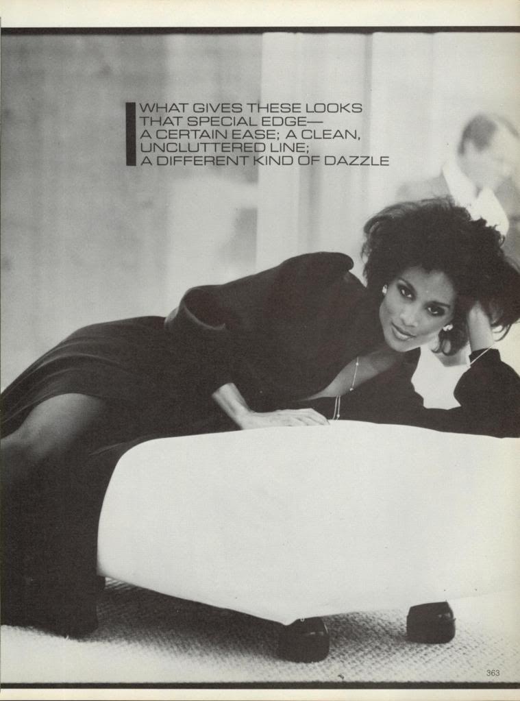 US Vogue October 1980 At Night, a New Range, A New Ease Photo Arthur Elgort Models Nancy Donahue, Michelle Stevens, Kim Alexis, Gia Carangi & Beverly Johnson