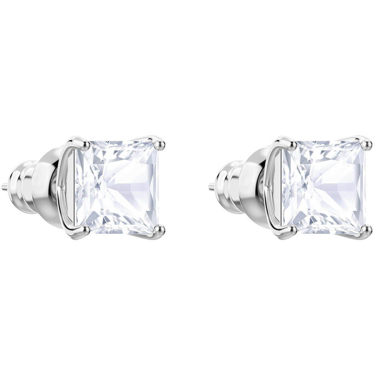 1fff9108d Attract Stud Pierced Earrings, White, Rhodium plating | jewelry ...