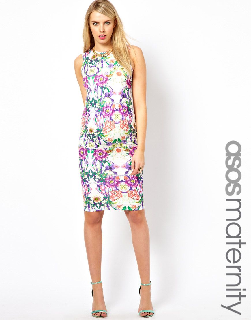 ASOS Maternity Body-Conscious Dress with Square Back in Floral ...