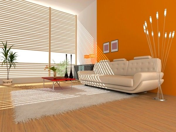 Interior of a hall with a soft zone for Orange walls living room designs