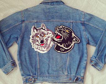 Vintage Patched Jean Jacket Vintage Patched Denim Jacket Black