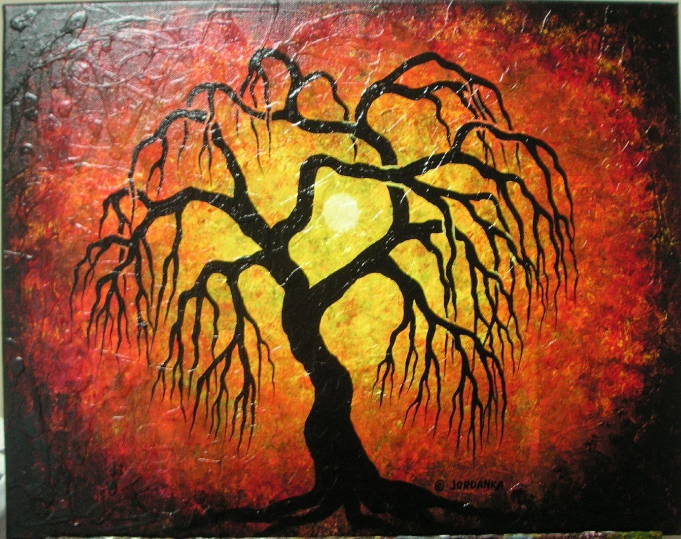 Weeping willow tree , Original painting by Jordanka | Willow tree ...