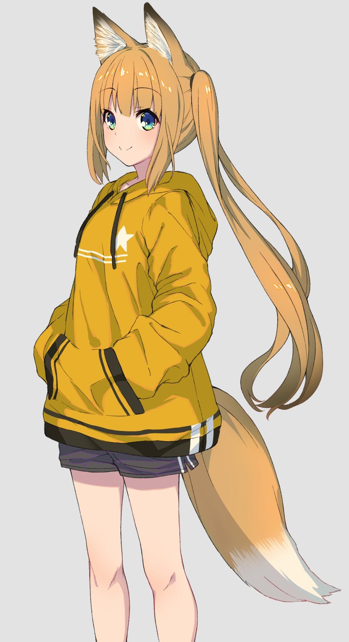 Hoodie fox girl [Original]  Fox girl, Cute fox drawing, Neko girl