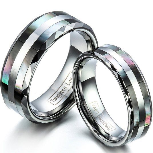 Tungsten Carbide Ring W Double Abalone Shell S Engagement Wedding Band