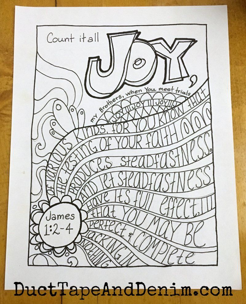HandDrawn Bible Verse Coloring Page, James 124, FREE