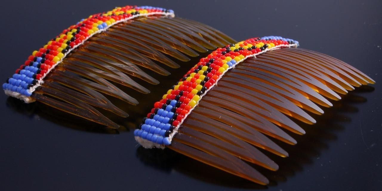 Pair of Multibeaded Purple Ends Hair Combs by Lucille Ramone UA51W | eBay