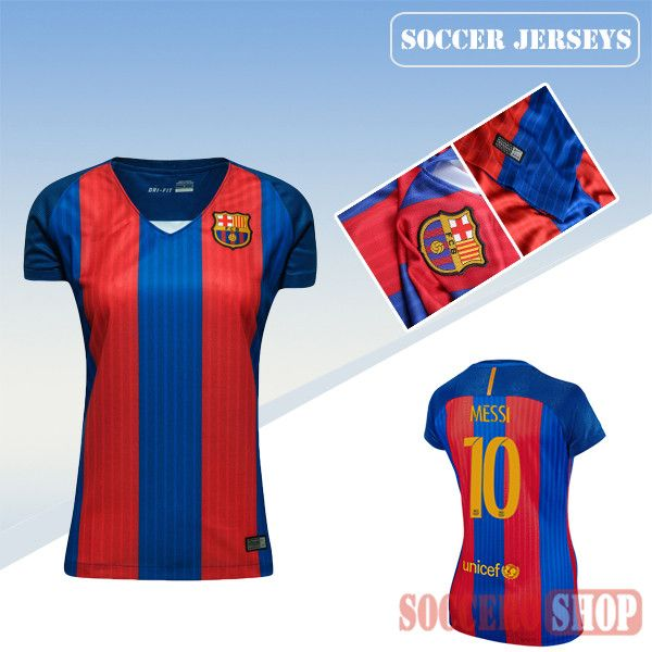 1ec59e4eaf6 Newest Cool Barcelona Red Blue 2016 17 Home Womens Replica Jersey With Messi  10 Printing
