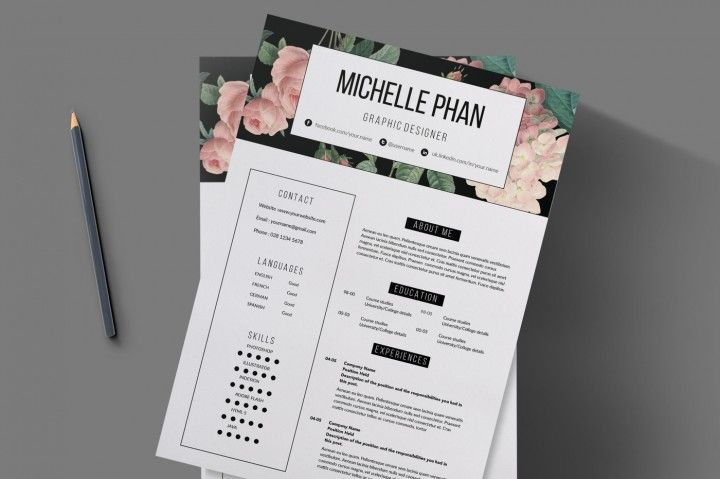 floral 2 page cv template    resume template