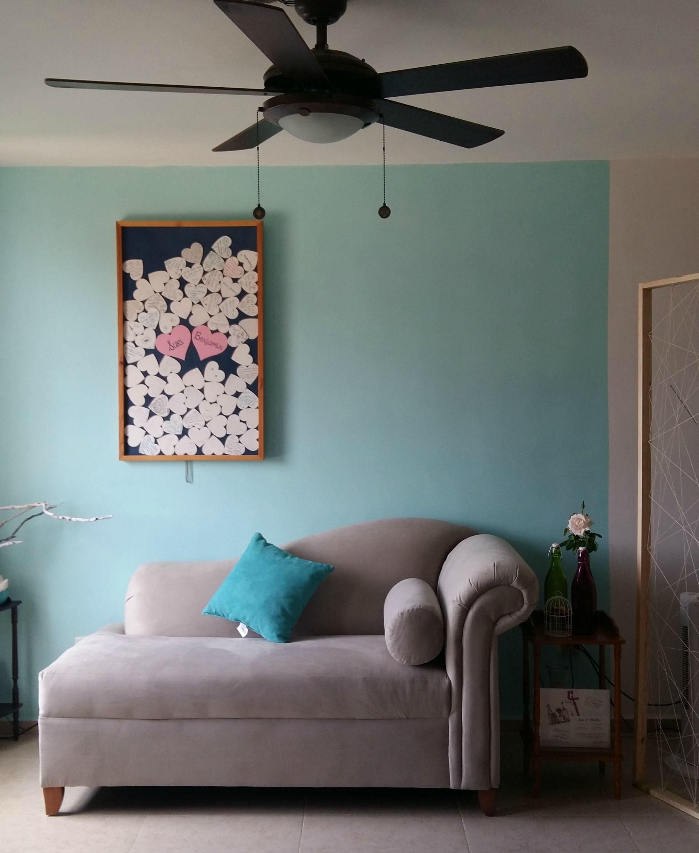 Blue Living room // Sala de estar con biombo