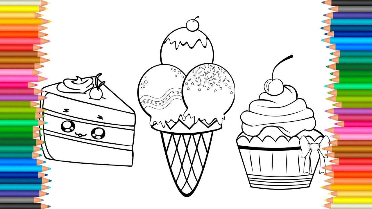 cake squishy cupcake ice cream coloring pages videos for kids with col