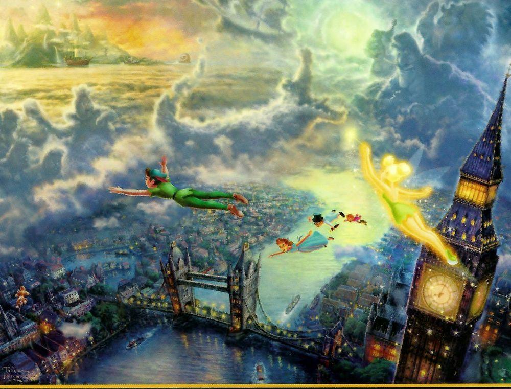 """Thomas Kinkade Disney """"Tinker Bell And Peter Pan"""" Boxless"""