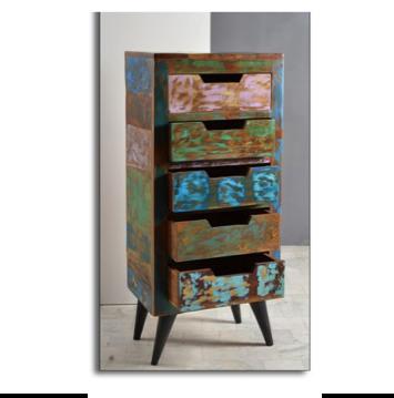 Miami -sarjan ihana, persoonallinen lipasto, jossa 5 vetolaatikkoa.Lipasto on valmistettu kierrätyspuusta ja siinä on metallijalat. Väriltään monivärinen. Jokainen sarjan tuote on oma yksilönsä.