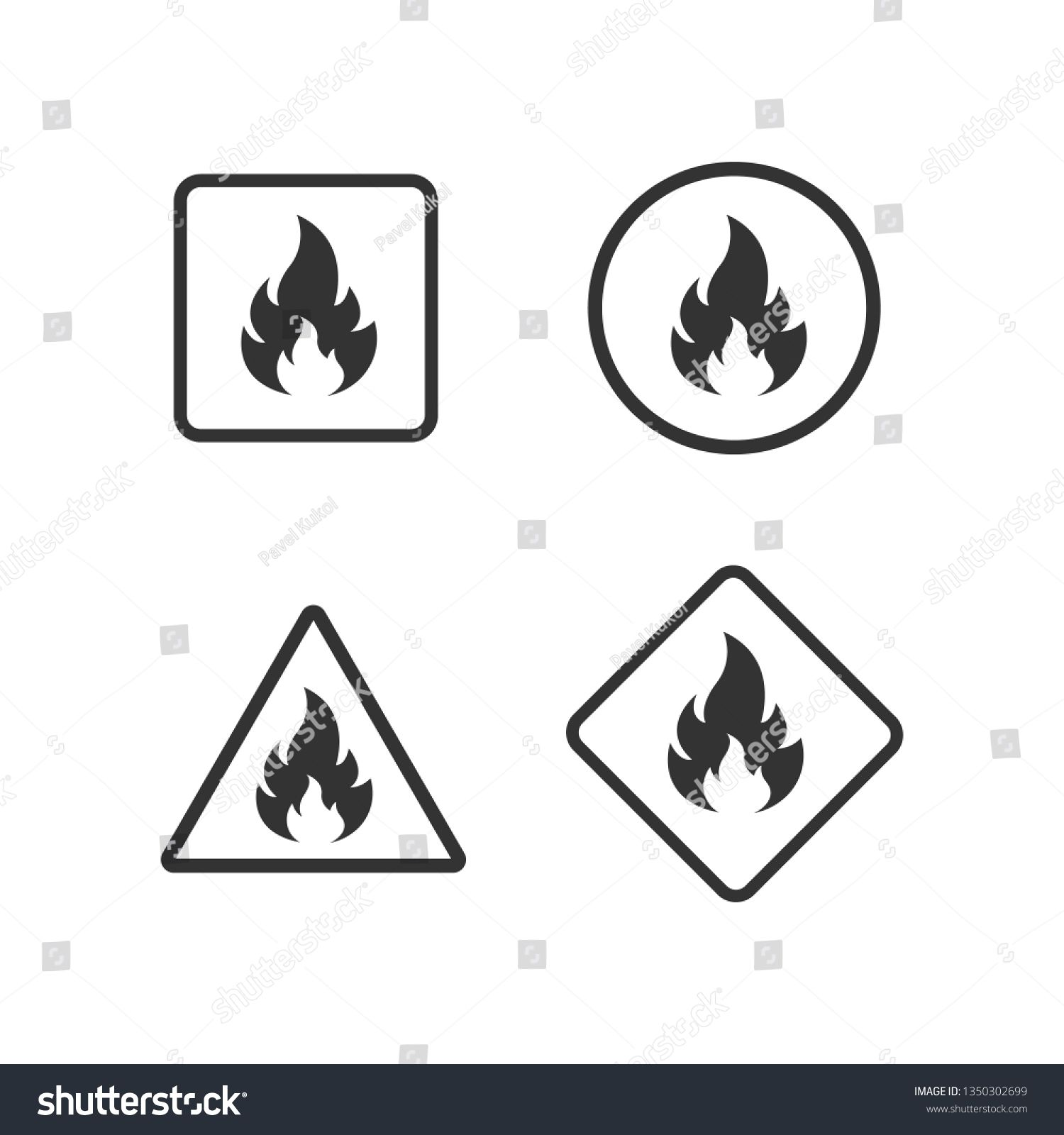 Fire Warning Dangerous flame attention icon. Flammable