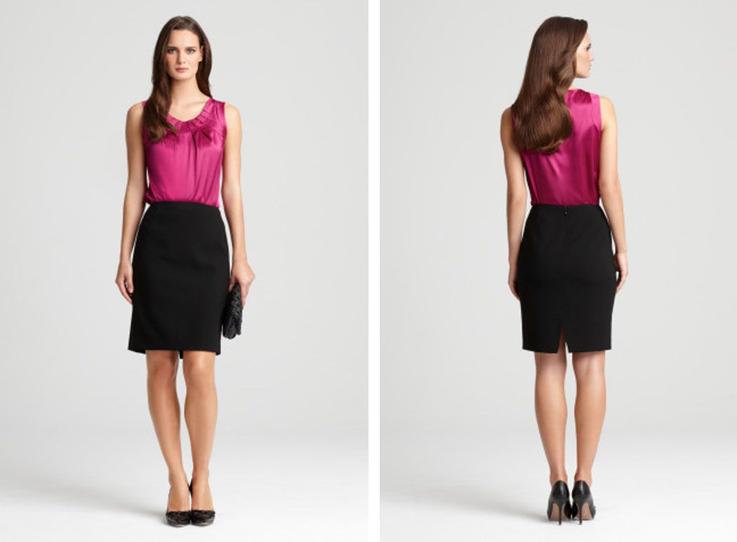 Pencil skirt work outfit with top. Dark shades perfect for client ...