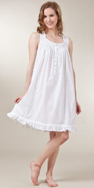 ed11f9a55a Sleeveless Swiss Dot Woven Cotton Short White Nightgown..making my daughter  a matching one :)