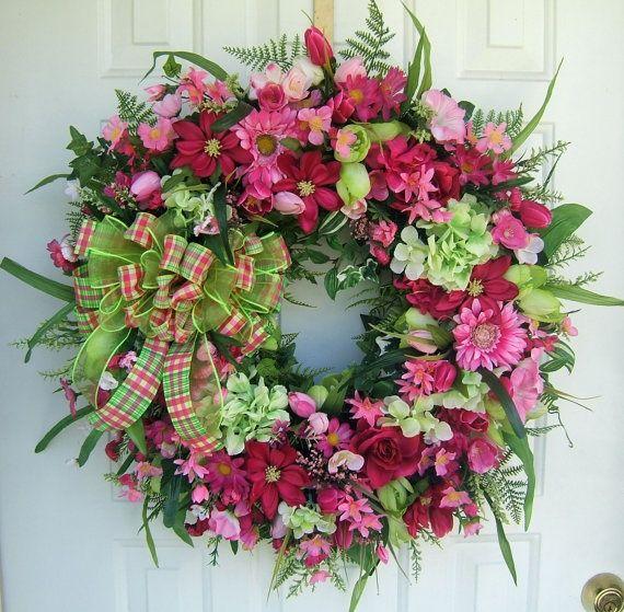 Backyard Ideas For Spring Decorating 6 Tips To Make: Custom Order, Large Beautiful Spring Wreath, Door Wreath