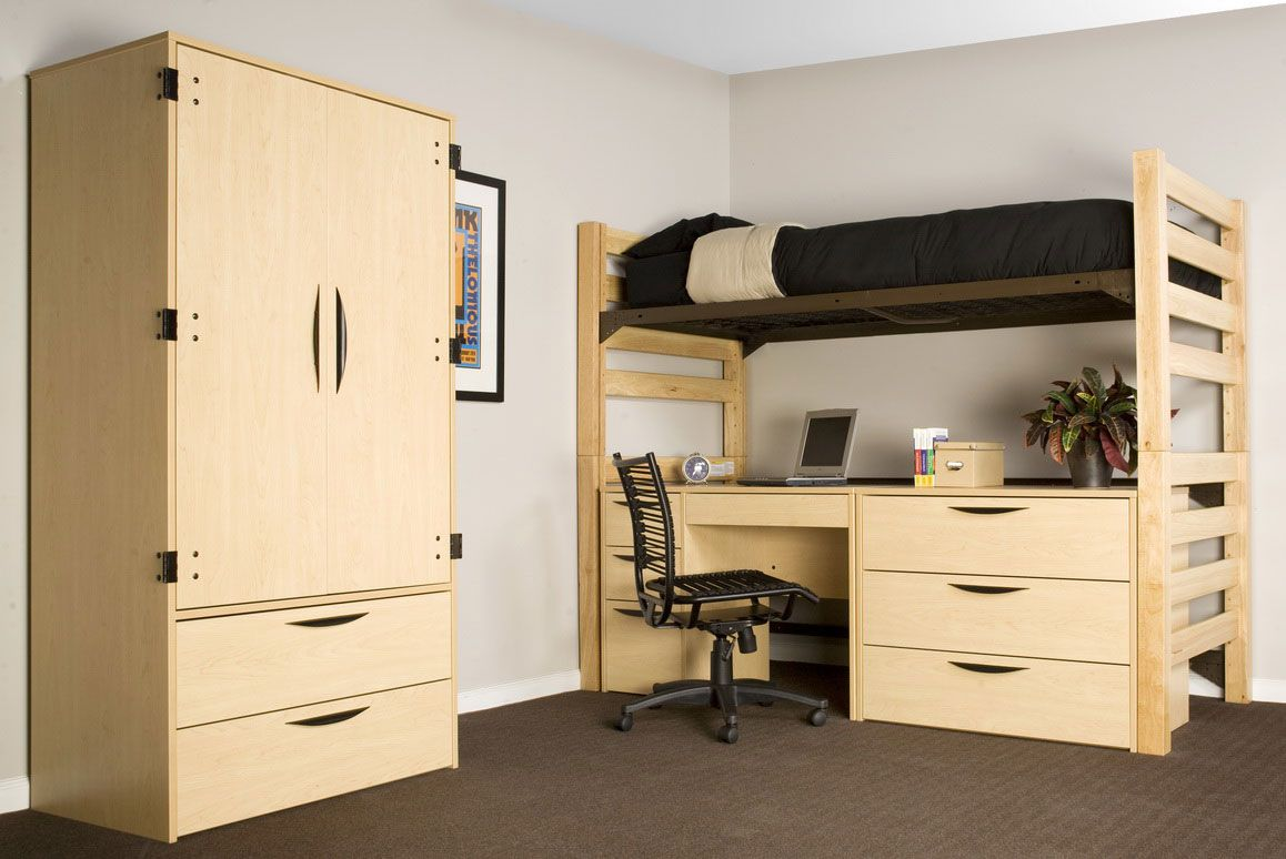 bedroom appealing dorm room ideas for students with attractive plywood wardrobe and bed level above study table comfortable and cool dorm room ideas - Dorm Design Ideas