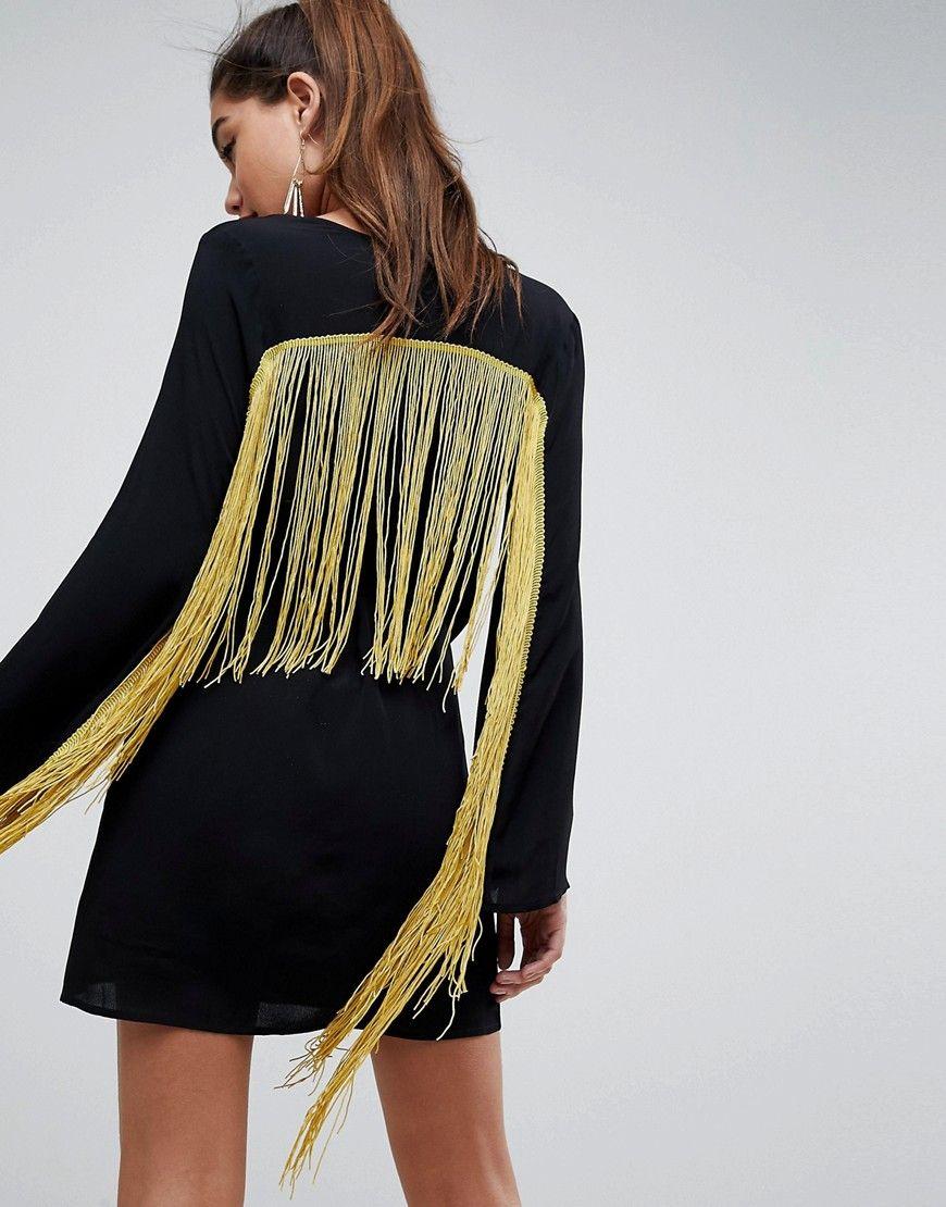 Fringe Embroidered Wrap Mini Dress - Black Asos C6ja2SEfkR