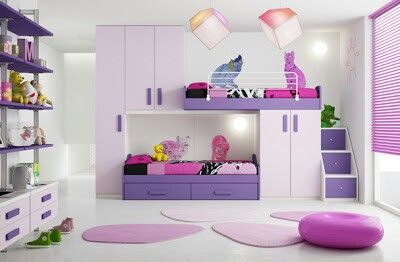 Cuarto de niña morado cama doble | Kids room | Pinterest | Room ...