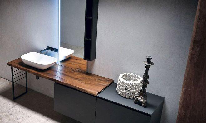 Meuble de salle de bain en laque extra-mate coloris Nero, plan en - salle de bain meuble noir