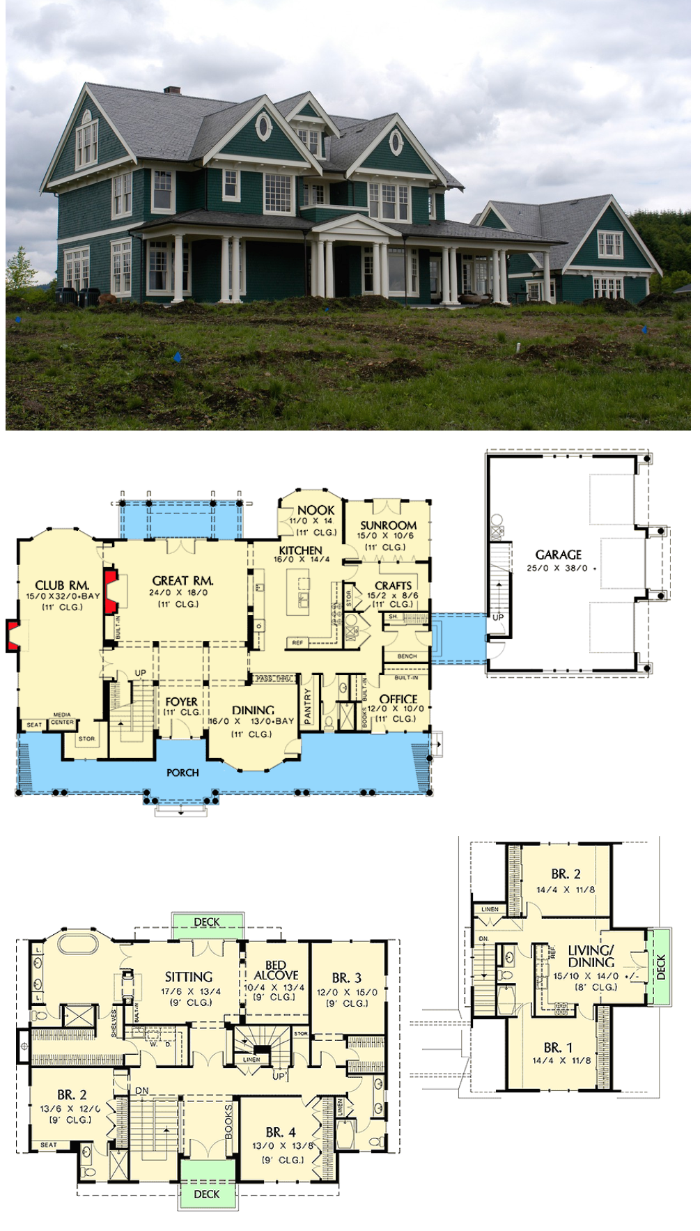 Plan 69078am Farmhouse With Lots Of Amenities House Plans Floor Plans Dream House Plans