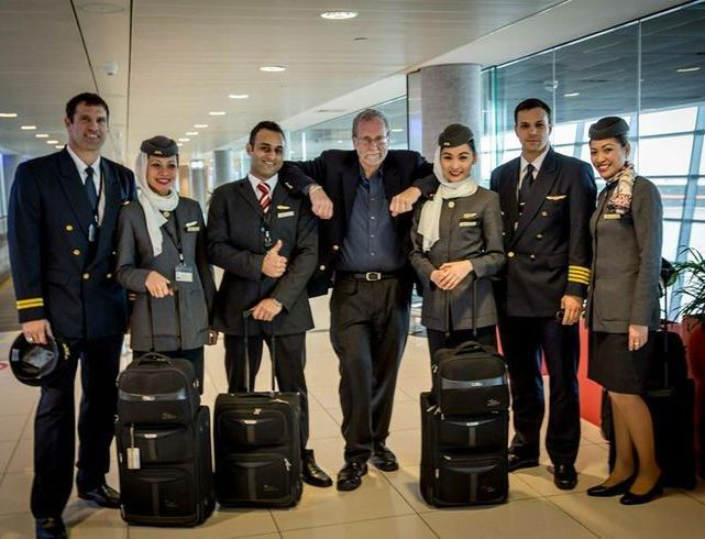 In abu dhabi with flight crew of etihad airways cabin for Hispano international decor abu dhabi