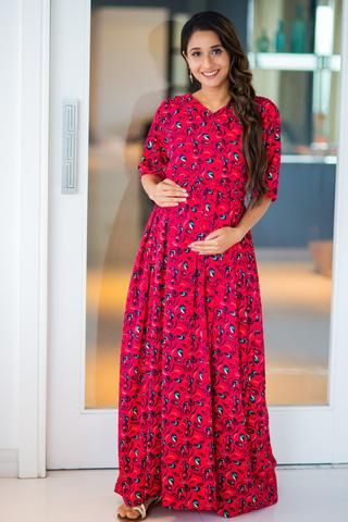 a5c2d1ab0b6ae Bubble Crepe Chic Red Maternity & Nursing Wrap Dress #momzjoy  #ownyourconfidence #maternityfashion #nursingwear #nursingstyle #comfort # India #pregnancy ...