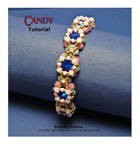 Tutorial Candy Bracelet  beading pattern di FucsiaStyle su Etsy