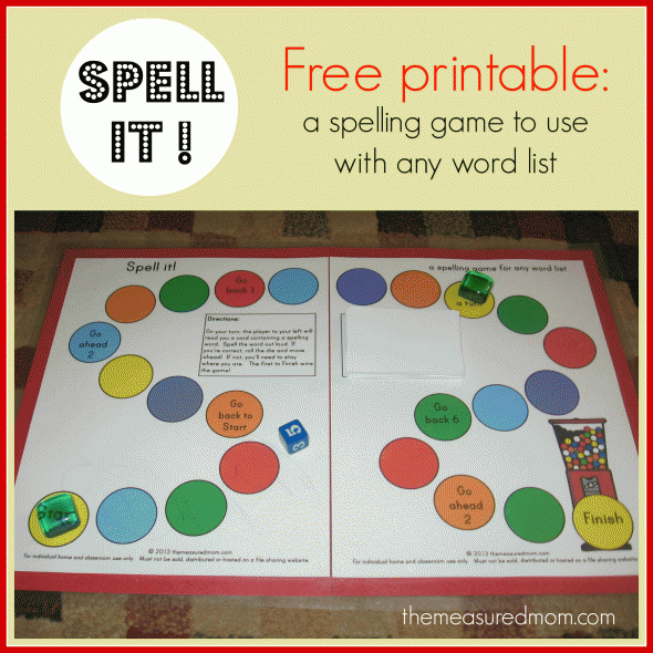 Spell It A Printable Spelling Game For Any Word List K 3