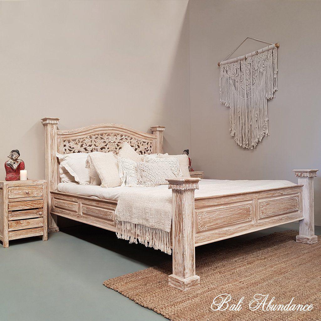 Hand Carved Teak Wood Bed The Lovina In Whitewash In 2020 Hand Carved Teak Bali Furniture Teak Bedroom