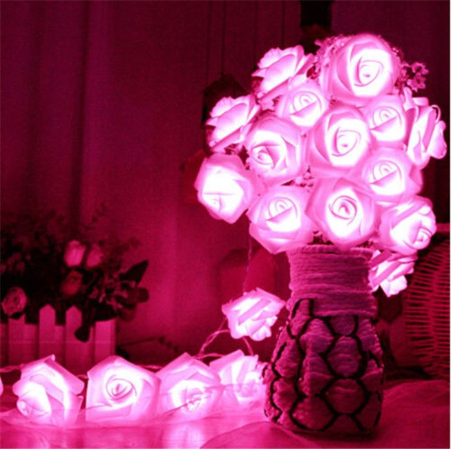 2M LED Artificial Rose Flower Fairy String Lights Home Party Wedding Decor Lamp