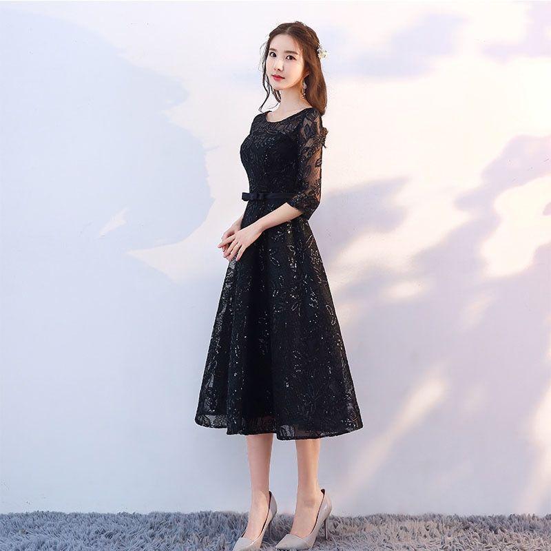 3a3f66e895 New Arrival 2018 Short Black Color Prom dress Tea Length Elegant ...