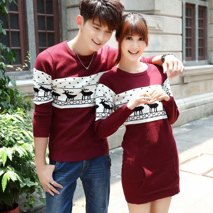 Fashion girl boy couple sweaters