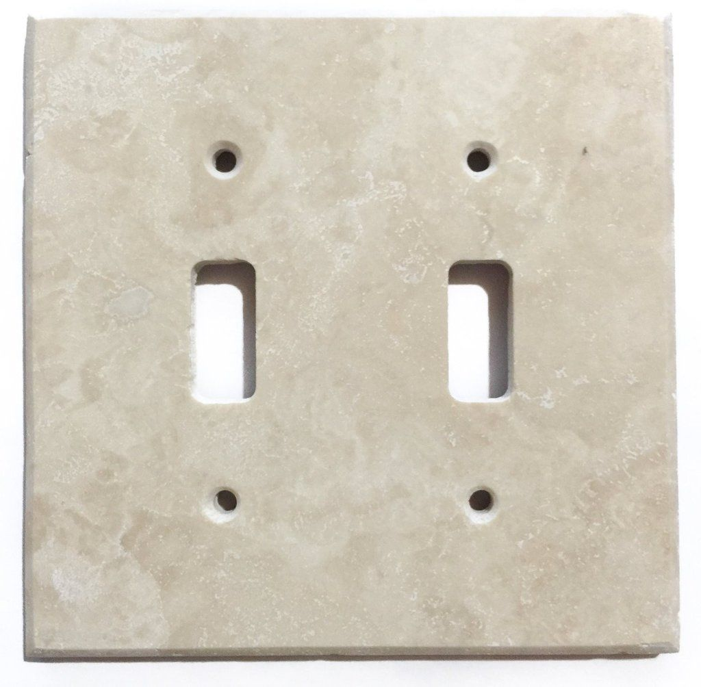 Ivory Travertine Double Toggle Switch Wall Plate / Switch Plate / Cover    Honed