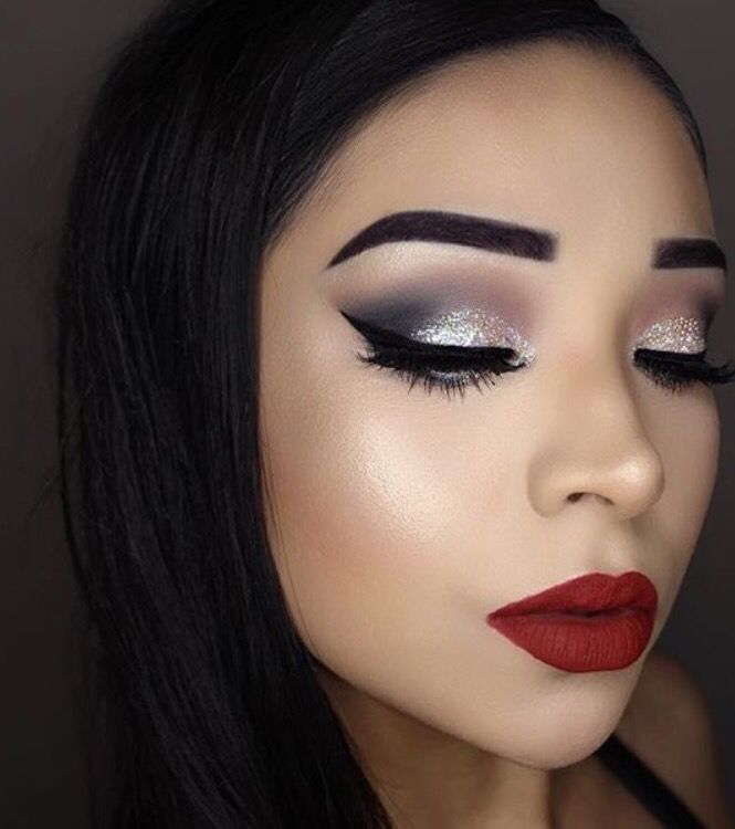 Bold Red With Silver Eyes With Images Silver Eye Makeup