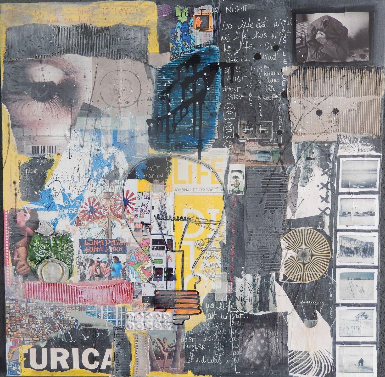 light or night tableau contemporain et moderne collages par ln lepape art affiches. Black Bedroom Furniture Sets. Home Design Ideas