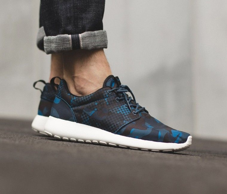 Nike Roshe One Print Brigade Blue Black Squadron Blue Obsidian Running Shoes Nike Mens Fashion Shoes Nike Shoes Roshe