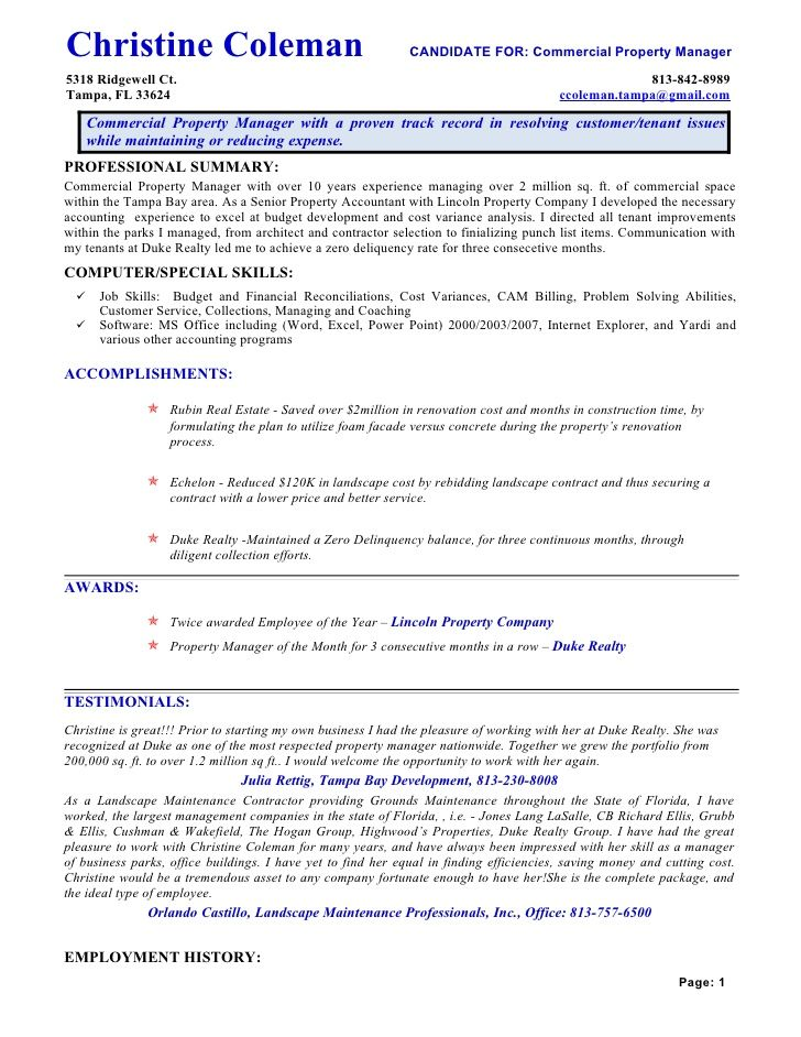 Commercial Property Manager Resume  Riez Sample Resumes  Riez